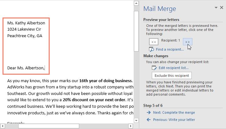 30. ادغام نامه (Mail Merge) در ورد 2016