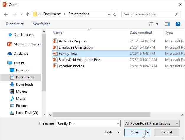 3. ایجاد و باز کردن فایلها در پاور پوینت 2016