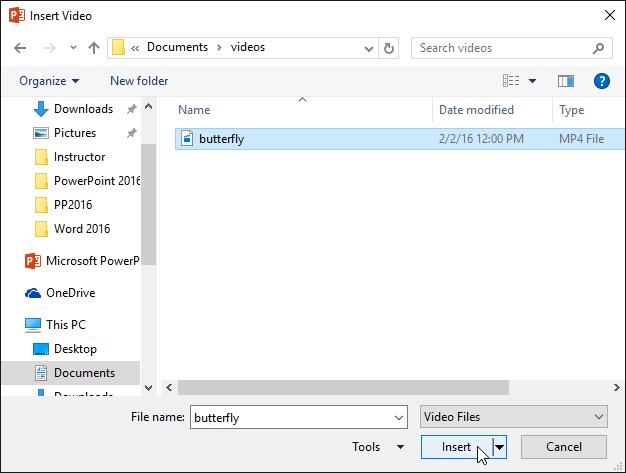 20. افزودن ویدئو (Inserting Videos) در پاور پوینت 2016