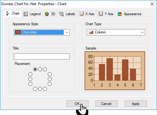 کادر محاوره ای ویژگی های نمودار : تب Chart