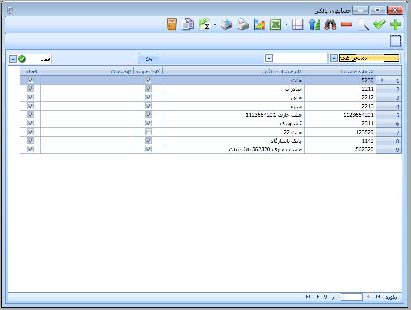 مدیریت حسابهای بانکی