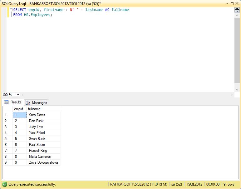 استفاده از دستور CONCAT و اتصال رشته ها در اس کیو ال سرور