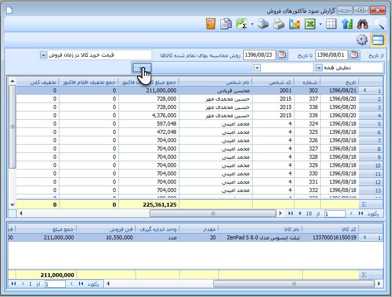 گزارش سود فاکتورهای فروش