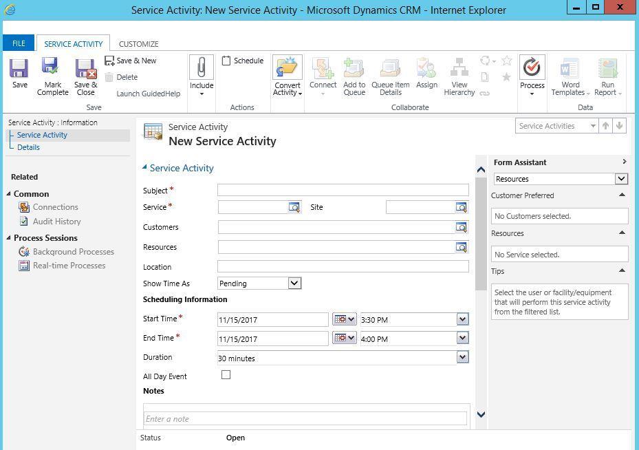آموزش مایکروسافت CRM 2016 - بخش Activity - قسمت Service Activity . آموزشگاه رایگان خوش آموز