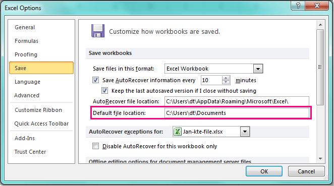 تغییر محل ذخیره سازی در Excel . آموزشگاه رایگان خوش آموز