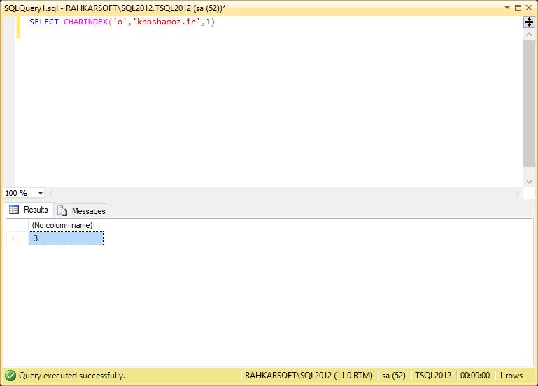 24. استفاده از تابع CHARINDEX برای پیدا کردن محل یک متن داخل متنی دیگر