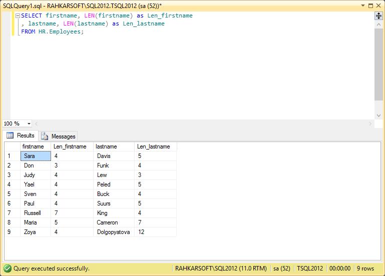 25. استفاده از تابع LEN برای پیدا کردن طول یک متن