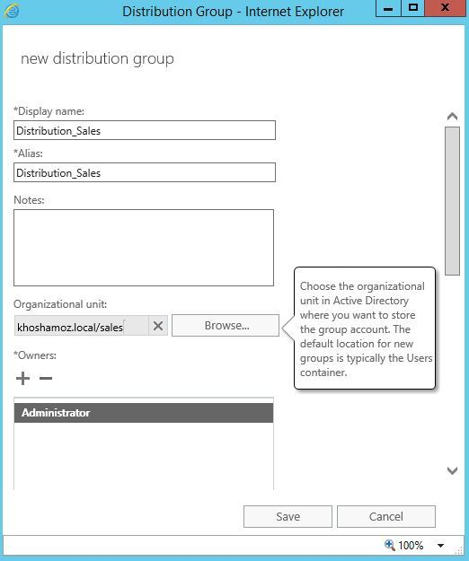 آموزش مایکروسافت exchange server 2016 - بخش Groups - ایجاد Distribution Groups . آموزشگاه رایگان خوش آموز