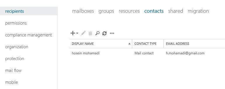 آموزش مایکروسافت exchange server 2016 - بخش Contacts - ایجاد mail Contacts . آموزشگاه رایگان خوش آموز
