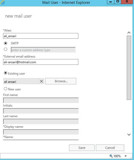 آموزش مایکروسافت exchange server 2016 - بخش Contacts - ایجاد mail user . آموزشگاه رایگان خوش آموز
