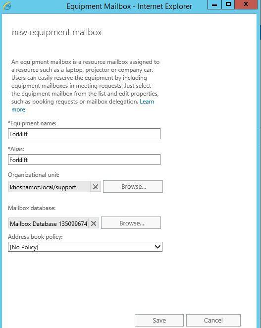 آموزش مایکروسافت exchange server 2016 - - ایجاد Equipment mailbox . آموزشگاه رایگان خوش آموز