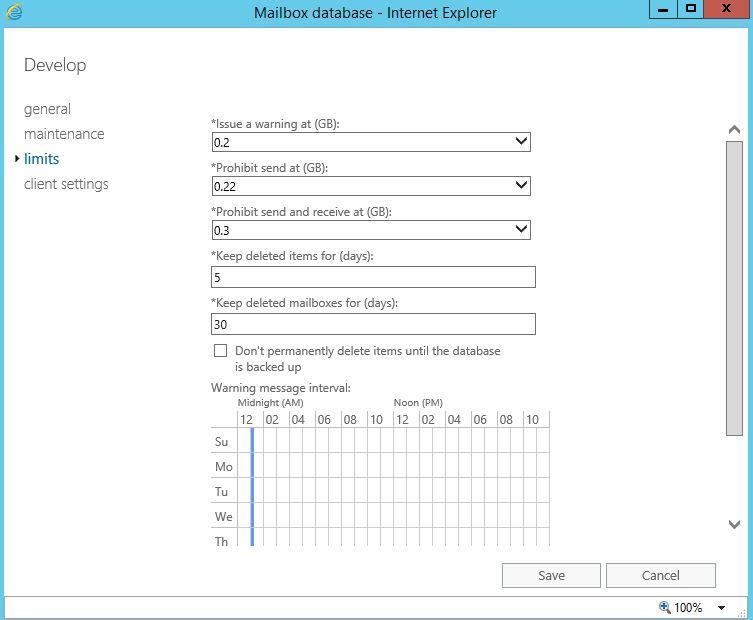 آموزش مایکروسافت exchange server 2016 - تنظیمات Quota یا Limits در دیتابیس ها . آموزشگاه رایگان خوش آموز