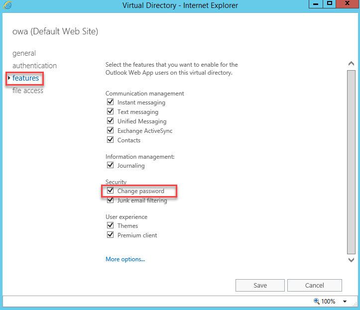 آموزش مایکروسافت exchange server 2016 - غیرفعال کردن تغییر پسورد در OWA . آموزشگاه رایگان خوش آموز