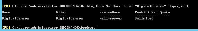 آموزش مایکروسافت exchange server 2016 - ایجاد Equipment mailbox با دستورات Shell . آموزشگاه رایگان خوش آموز