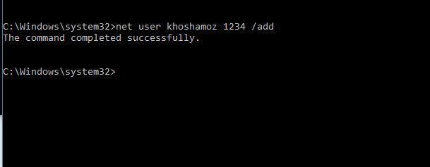 ایجاد user جدید در ویندوز با دستورات cmd . آموزشگاه رایگان خوش آموز