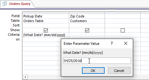 18. ایجاد یک پرس و جوی پارامتریک (Parameter Query) در اکسس 2016
