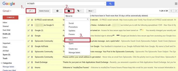 بازایابی ایمیل های حذف شده در gmail . آموزشگاه رایگان خوش آموز