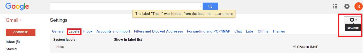 عدم وجود فولدر Trash در Gmail . آموزشگاه رایگان خوش آموز