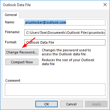 ست کردن Password برای Outlook Data File . آموزشگاه رایگان خوش آموز