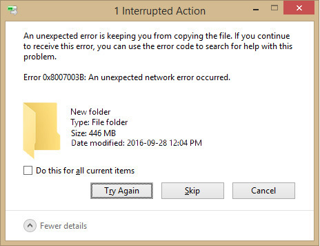 برطرف کردن ارور Error 0x8007003B: An unexpected network error occurred . آموزشگاه رایگان خوش آموز