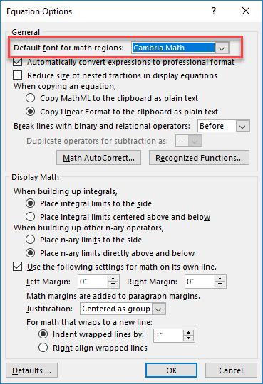 چگونه فونت قسمت فرمول نویسی در نرم افزار ورد آفیس را تغییر دهیم؟