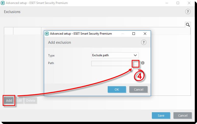 افزودن استثناء (exclusion) در آنتی ویروس ESET
