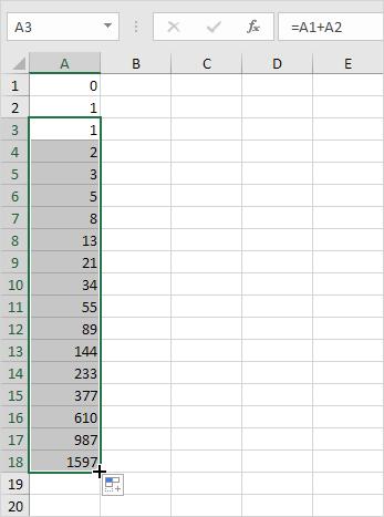ایجاد دنباله فیبوناچی (Fibonacci sequence) در اکسل