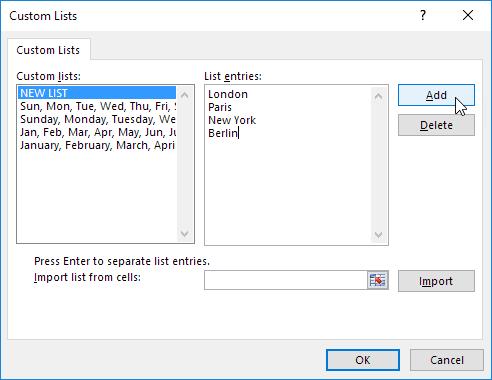 چگونگی ایجاد Custom Lists (لیست های سفارشی) در اکسل