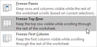 چگونگی فریز کردن (Freeze Panes) ستون ها یا ردیف ها در اکسل