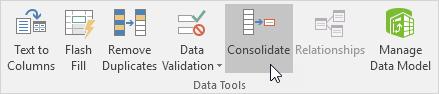 چگونگی استفاده از ویژگی Consolidate (یکی کردن) در اکسل
