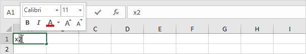 چگونگی نوشتن متن به صورت  superscript (بالا نویس) یا subscript (زیر نویس) در اکسل