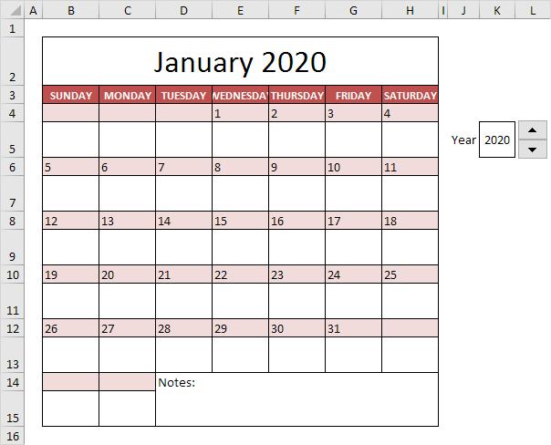 چگونگی ایجاد یک تقویم (Calendar) در اکسل