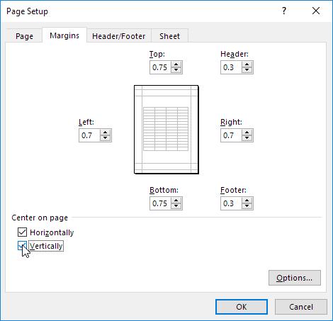 چگونگی در مرکز قرار دادن محدوده ای از سلولها در یک صفحه چاپی اکسل