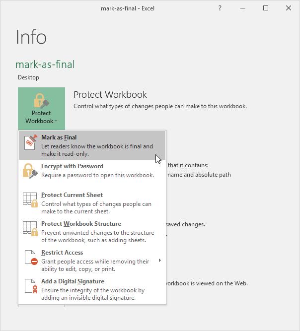 چگونگی نشان گذاری یک فایل اکسل به صورت Final (نهایی شده)