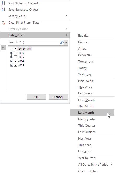 چگونگی به کار بردن فیلتر تاریخ (Date Filters) در اکسل