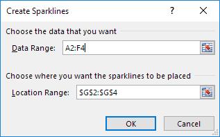 چگونگی کار با Sparklines در اکسل