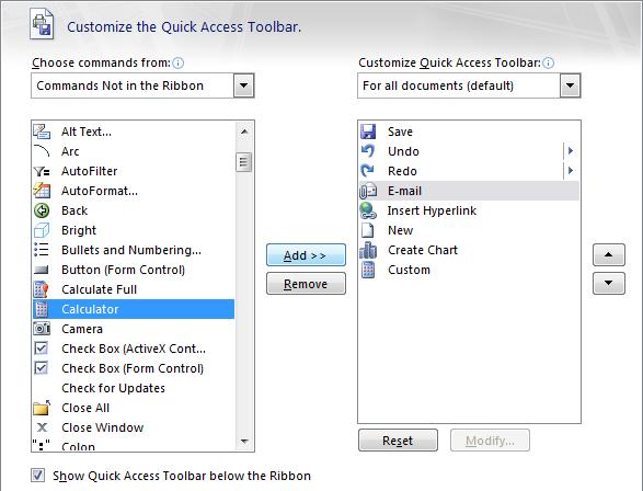 اضافه کردن ماشین حساب ویندوز به نوار ابزار اکسل . آموزشگاه رایگان خوش آموز