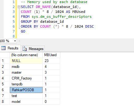 مشاهده میزان مصرف RAM هر دیتابیس در SQL Server . آموزشگاه رایگان خوش آموز