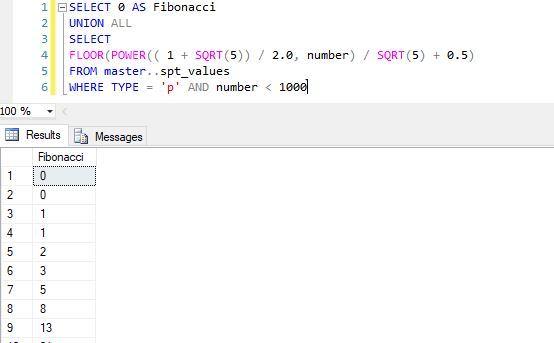 نمایش اعداد فیبوناچی در SQL Server . آموزشگاه رایگان خوش آموز