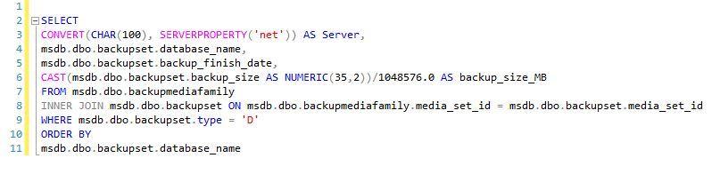 مشاهده آخرین تاریخ و سایز بک آپ فایل ها در SQL Server . آموزشگاه رایگان خوش آموز