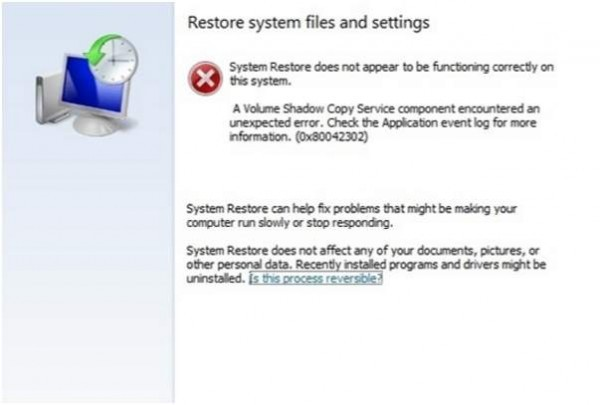 ارور 0x80042302 هنگام بازیابی Restore Point . آموزشگاه رایگان خوش آموز