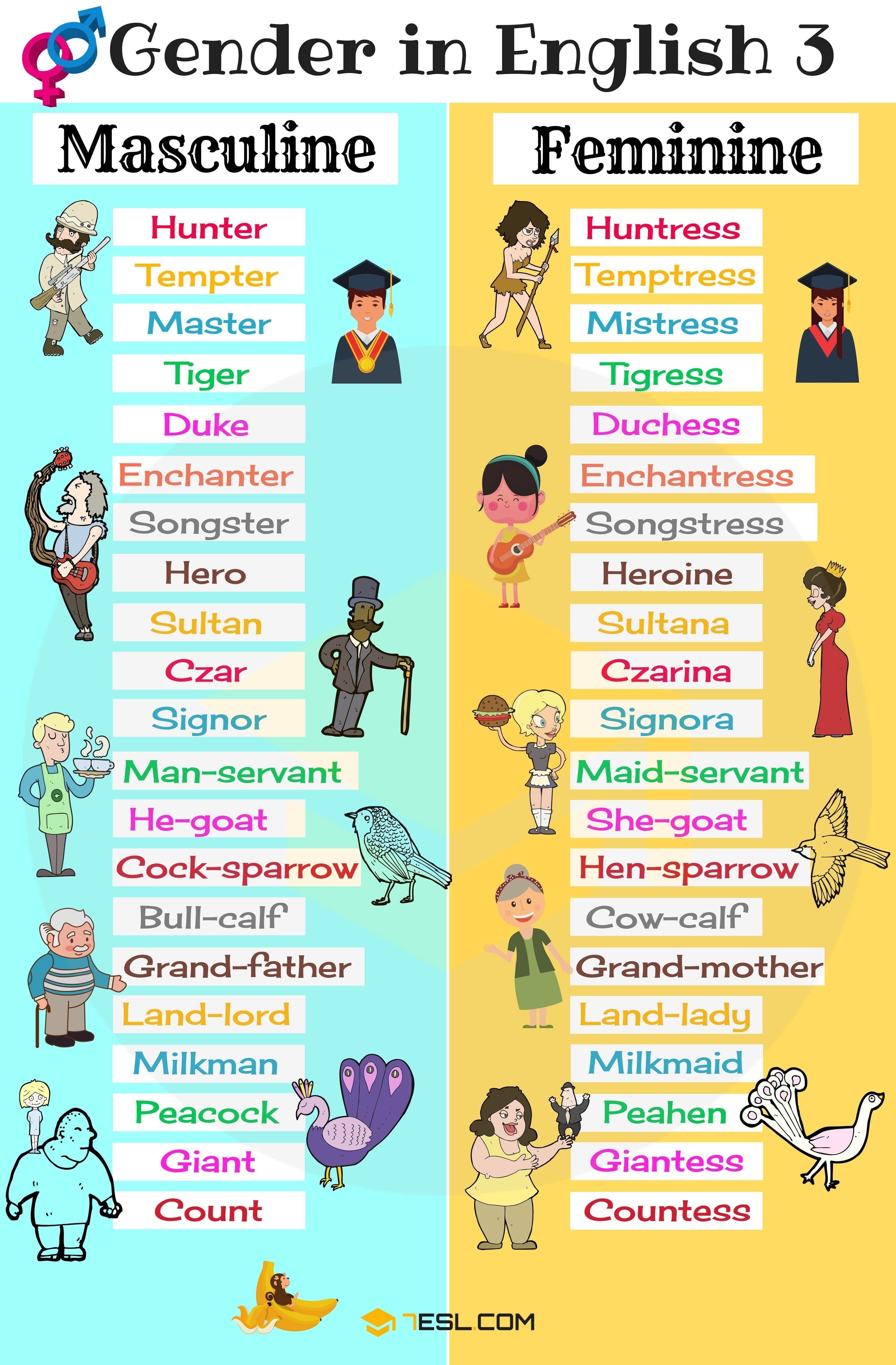 کلمات نشان دهندۀ جنسیت (Gender) در زبان انگلیسی