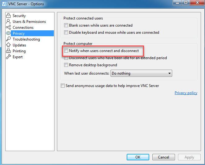 آموزش ریموت با استفاده از نرم افزار VNC- نحوه فعال یا غیرفعال کردن اعلان پس از Connect یا Disconnect شدن به سیستم کاربر . آموزشگاه رایگان خوش آموز