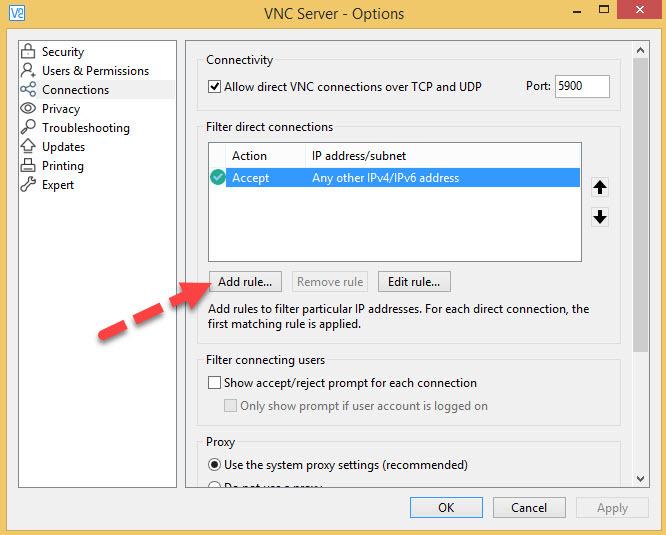 آموزش ریموت با استفاده از نرم افزار VNC- بلاک یا مجاز کردن ترافیک VNC، نحوه ایجاد رول در VNC . آموزشگاه رایگان خوش آموز
