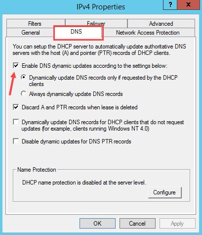 مدیریت و بروزرسانی رکوردهای ثبت شده در DNS توسط DHCP در ویندوز سرور