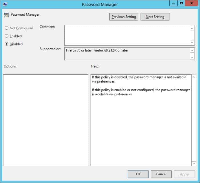 غیرفعال کردن password manager یا ذخیره پسوردها در مرورگر موزیلا فایرفاکس برای کاربران دامین