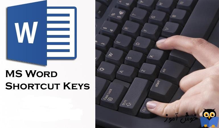 نمایش همه shortcut های نرم افزار word