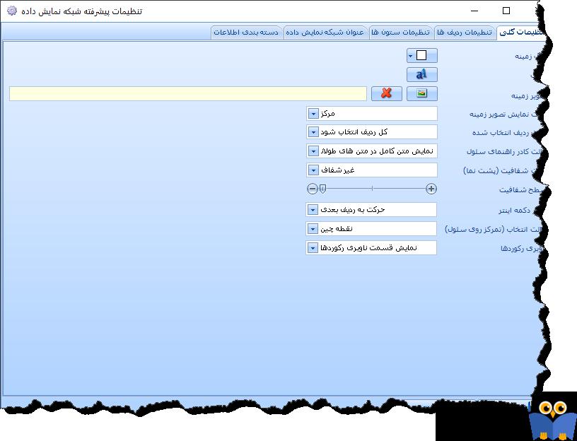 تنظیمات پیشرفته شبکه نمایش داده (تنظیمات کلی)