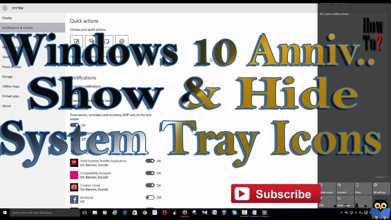 نمایش یا مخفی کردن notification area یا system tray در ویندوز