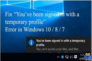 حذف فولدر پروفایل و پیغام You've been signed in with a temporary profile در ویندوز